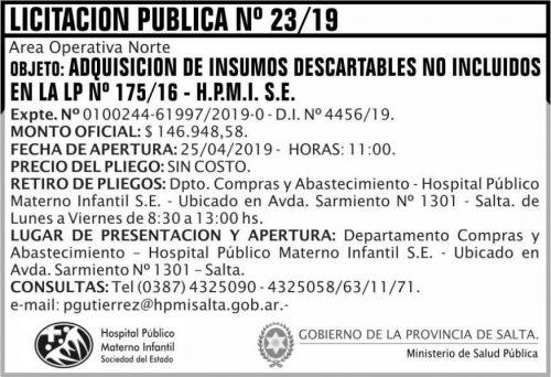 Licitación: Licitacion Publica 23 HPMI AON MSP