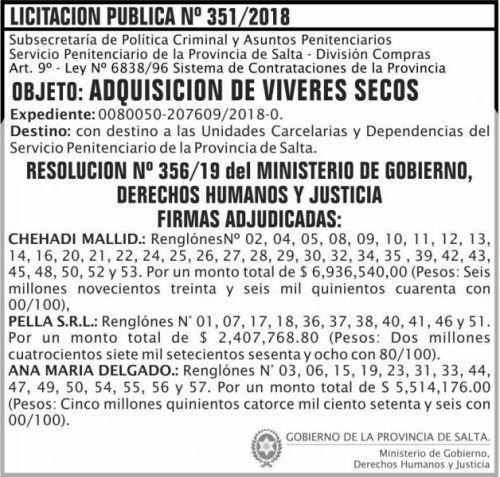 Licitación: Licitacion Publica Adjudicada 351 SPPS MDHJ