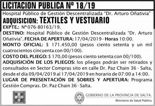 Licitación: Licitación Pública 18 MSP Oñativia