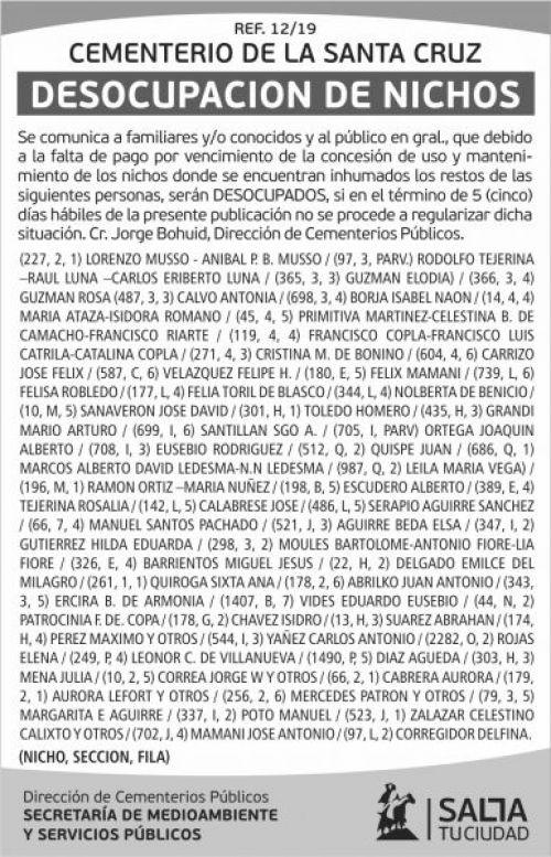 Licitación: Nota12-19 Desocupacion Sta  Cruz.