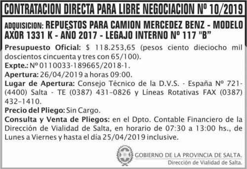 Contratación: Contratacion directa libre negociacion 10 DVS