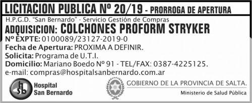 Licitación: PRORROGA Licitacion Publica 20 MSP SB