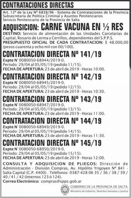 Contratación: Contratacion Directa N 141 a 145 SPPS MDHJ