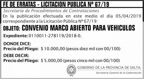Fe de Errata: FE DE ERRATA Licitacion Publica 67 SGG