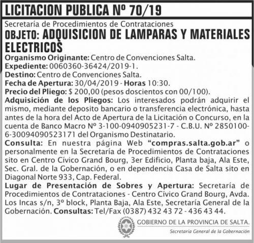 Licitación: Licitacion Publica 70 SGG CCS