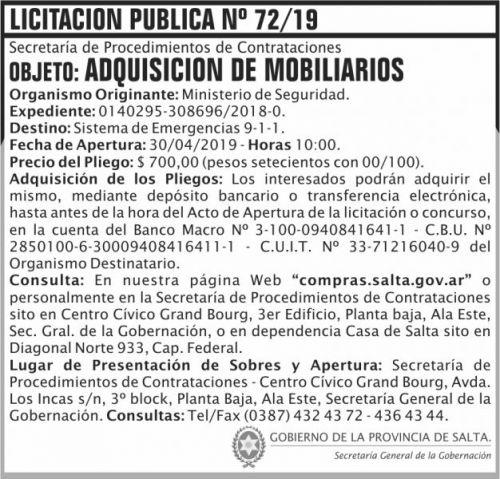 Licitación: Licitacion Publica 72 SGG MS