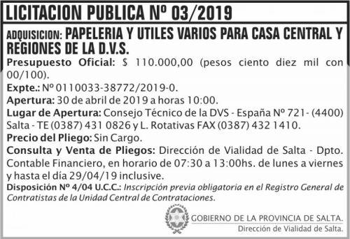 Licitación: Licitación Publica 03 DVS