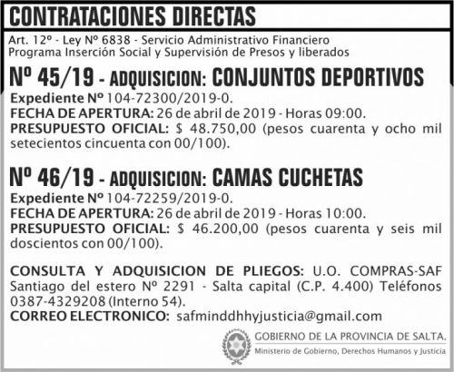 Licitación: Contratacion Directa 45 Y 46 SAF MGDHJ