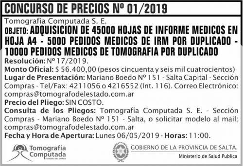Concurso de Precios: Concurso de Precios 01 TCSE MSP
