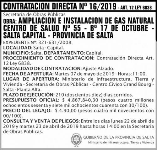 Contratación: Contratacion Directa ART 12 Nº 16 MITV