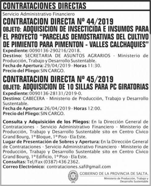 Contratación: Contratacion Directa 44 y 45 MPTDS