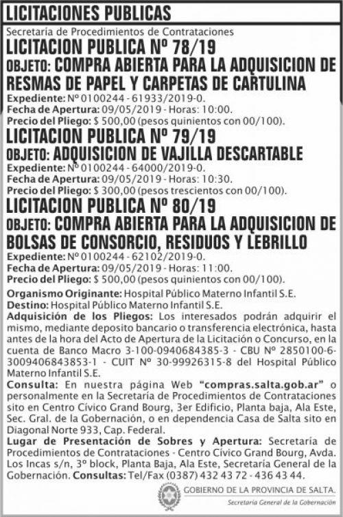 Licitación: Licitacion Publica 78 79 y 80 SGG HPMI