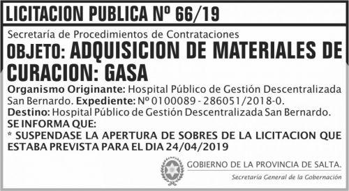 Licitación: Licitacion Publica 66 SUSPENSION SGG HPMI