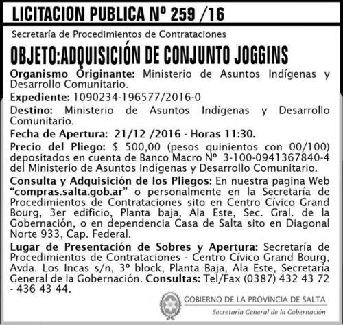 Licitación: Licitacón Pública Nº 259/16