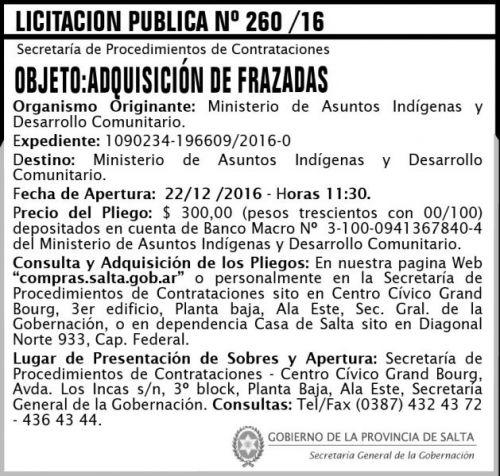 Licitación: Licitación Pública Nº 260/16