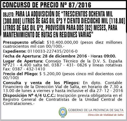 Concurso de Precios: Concurso de Precios Nº 87/2016