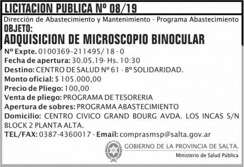 Licitación: Licitacion Publica 08 MSP