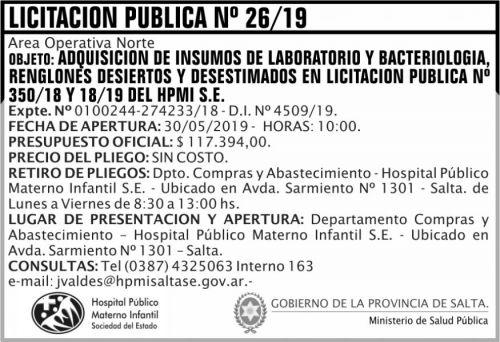 Licitación: Licitacion Publica 26 HPMI AON MSP
