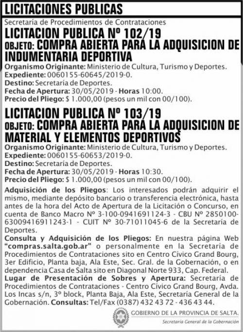 Licitación: Licitacion Publica 102 y 103