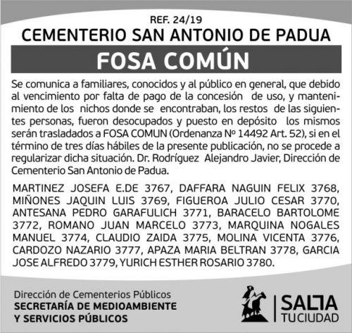 Licitación: Cementerio 24-19 2X7