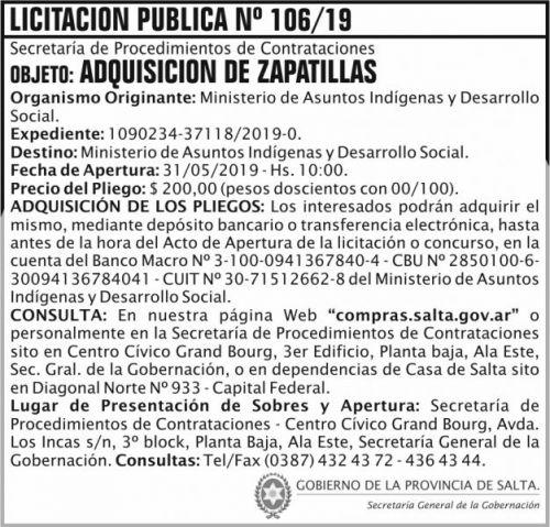 Licitación: Licitacion Publica 106 SGG MAIDS