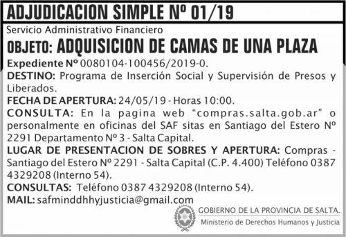 Licitación: Adjudicacion Simple 01 SAF MGDHJ