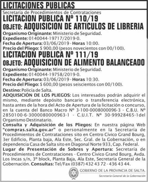 Licitación: Licitacion Publica 110 y 111 SGG MS