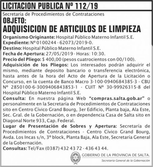 Licitación: Licitacion Publica 112 SGG HPMI