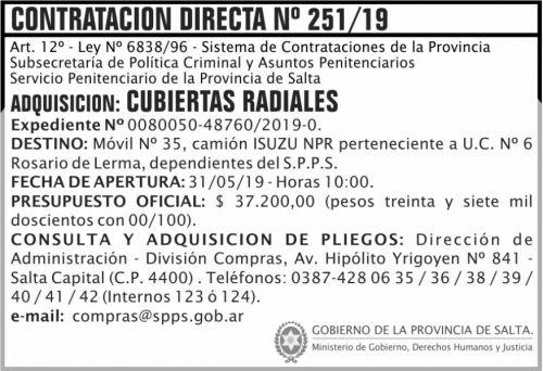 Contratación: Contratacion Directa 251 SPPS MDHJ