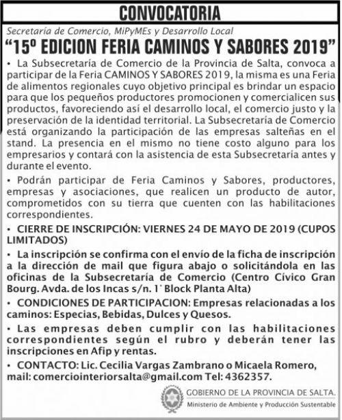Edictos / Comunicados: CONVOCATORIA feria CAMINOS Y SABORES 2019 MAPS