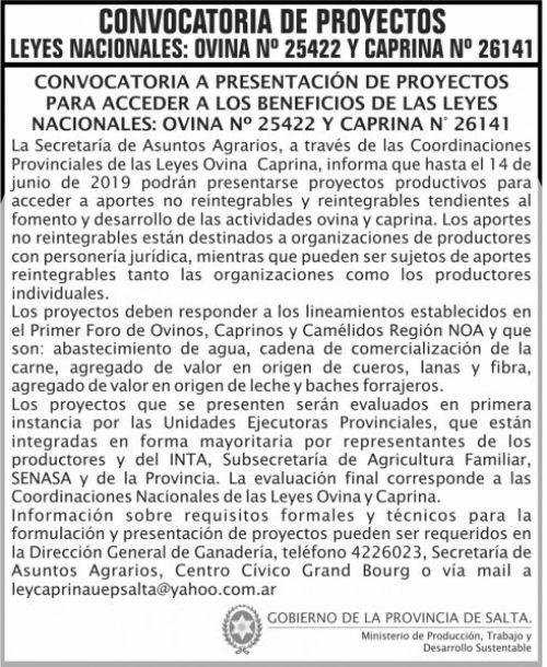 Edictos / Comunicados: Convocatoria Proy Ley Ovina y Caprina
