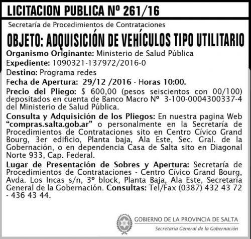 Licitación: Licitación Pública Nº 261/16