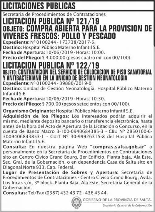 Licitación: Licitacion Publica 121 y 122