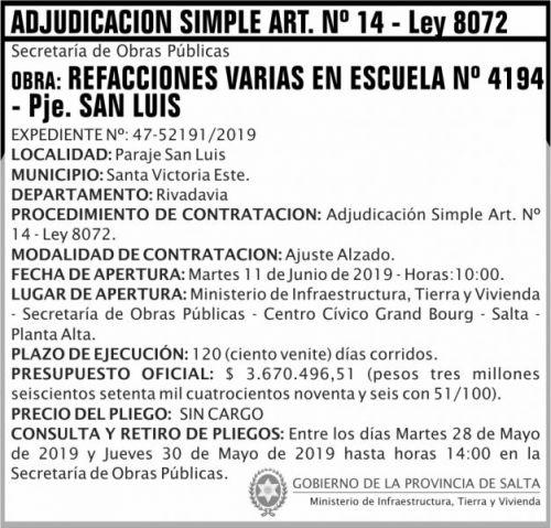 Licitación: Adjudicacion Simple ART 14
