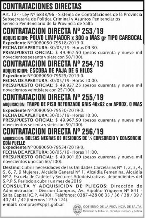 Contratación: Contratacion Directa 253 A 256