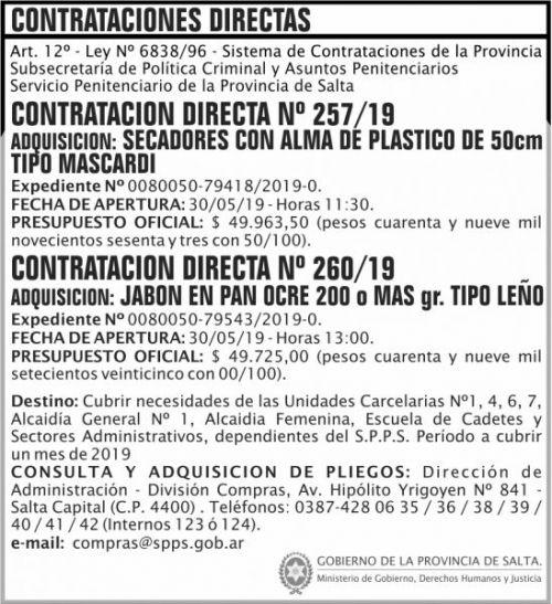 Contratación: Contratacion Directa 257 y 260