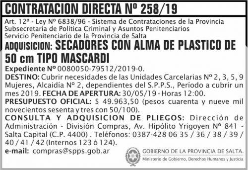 Licitación: Contratacion Directa 258
