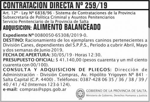 Licitación: Contratacion Directa 259