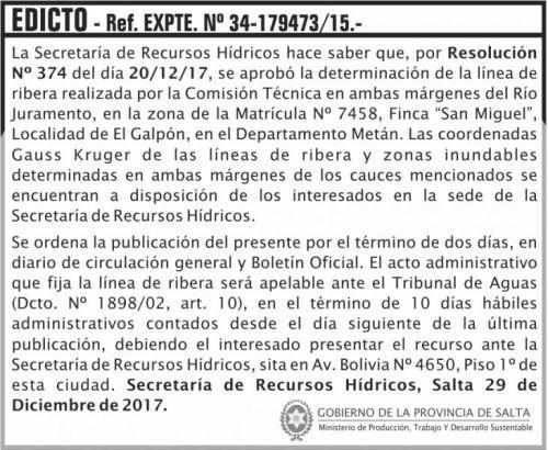 Licitación: EDICTO Rio Juramento