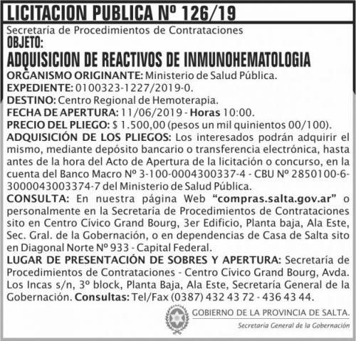 Licitación: Licitacion Publica 126