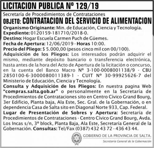 Licitación: Licitacion Publica 129 SGG MECT
