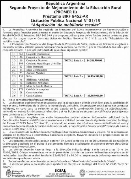 Licitación: Publica Nacional 01 MEDN Ucepe