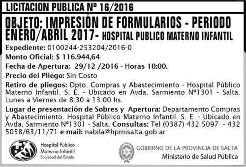 Licitación: Licitación Pública Nº 16/2016