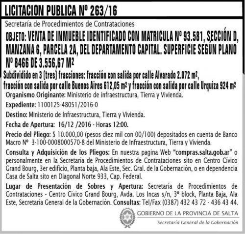 Licitación: Licitación Pública Nº 263/16
