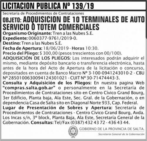 Licitación: Licitacion Publica 139 SGG TN