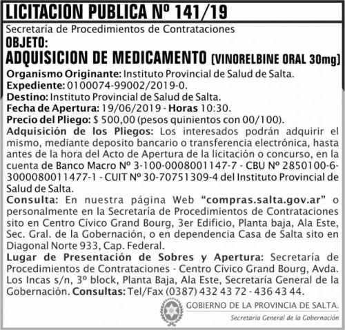 Licitación: Licitacion Publica 141 SGG IPS