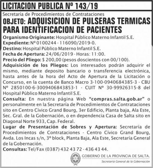 Licitación: Licitacion Publica 143 SGG HPMI