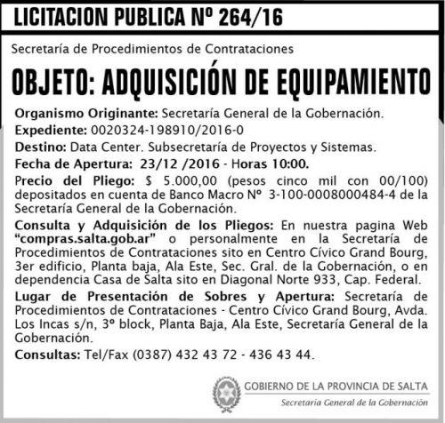 Licitación: Licitación Pública Nº 264/16