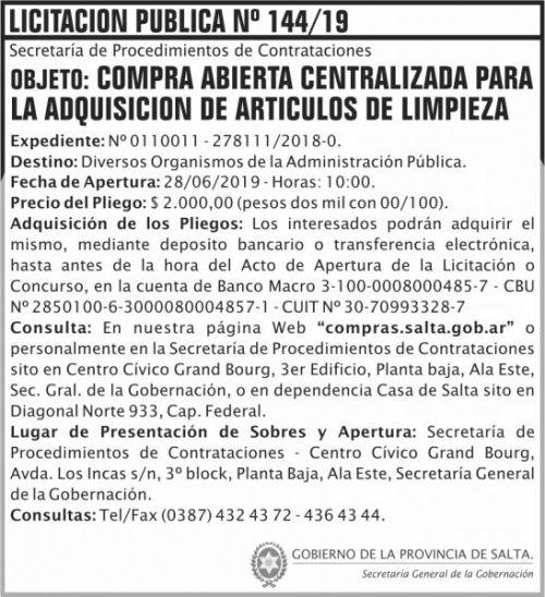 Licitación: Licitacion Publica 143 SGG