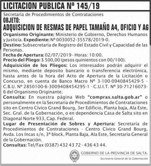 Licitación: Licitacion Publica 145 SGG MGDHJ SP